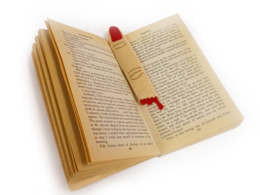 lady finger bookmark in book